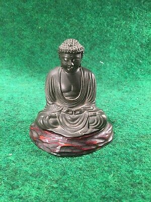 Old Signed Japanese Bronze Kamakura Sitting Buddha Figure Sculpture With Stand