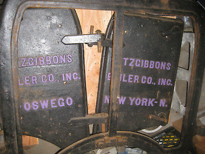 "Boiler Double Door Fitzgibbons Cast Iron Oswego NY LARGE 42"" x 33"" Vintage"