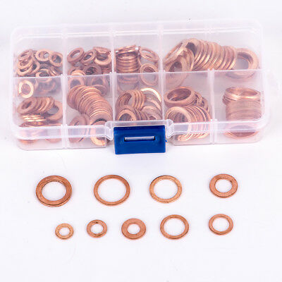 200x Solid Copper Crush Washer 1 Set Seal Flat Ring Sealing Gasket Assorted Car