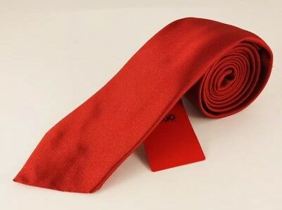 Hugo Boss Pure Silk Solid Red Men's 7 cm Neck Tie - Made in Italy