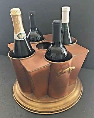 Art Deco Brass Copper Wine Champagne Ice Bucket 4 Barware VTG Global Views India