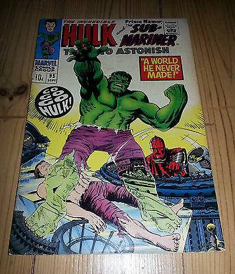 Tales To Astonish #95 1967 Incredible Hulk And Namor Sub-Mariner Marvel Comic