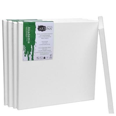 5 Set 30x30cm Artist Blank Canvases Square Medium Stretched 100% Cotton