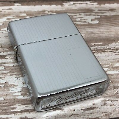 1979 Vintage Zippo Lighter Case - NO INSERT - Engine Turned - High Polish Chrome