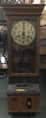 Antique International time recorder clock with time card holder