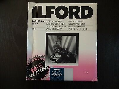 Ilford 8 x 10 MGIV Multigrade RC Deluxe Paper Pearl Surface 25+15 Sheets NEW