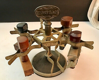 Vintage Universal Rubber 6 Stamp Rack with 4 Wood Handle Stamps