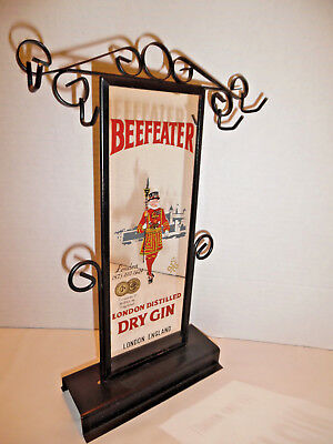 Vintage Beefeater Gin Standing Bar Mirror Display With Hooks