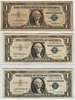 1957 - 1957-A & 1957-B $1 *Star* Silver Certificates - Circulated/Minor Issues