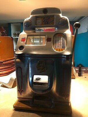 Antique Slot Machine Jennings Chrome Sun Chief Nickel Seized, broken Reel Kicker