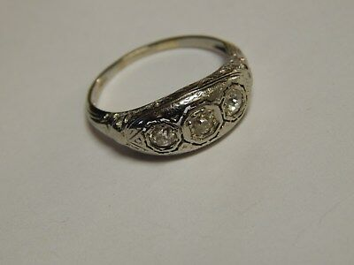 Vtg Art Deco Jabel 18 K White  Gold 3 Diamonds  Ornate Ring Size 5.75
