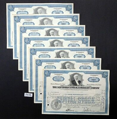 F65b New York Central Railroad stock certificates, Lot of 7