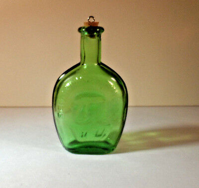Vintage Mini Bottle Green Benjamin Franklin, Taiwan on Bottom, Most Vintage