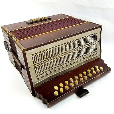 Beaver Brand Antique Accordion Germany Squeeze Box Vtg Wood 21 & 8 Button 050