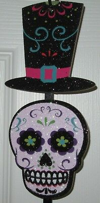 """Day of the Dead Wall Hanging Sugar Skulls Decoration Wreath Supplies 25"""" Long"""