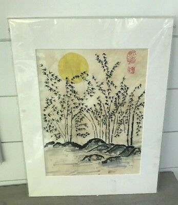 """Unframed Chinese Painting Art Piece Marked """"Lin"""" 12"""" x 16"""""""