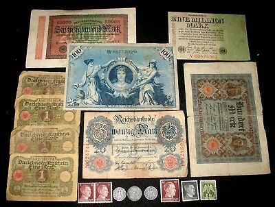 3 GERMAN WW II COINS WITH SWASTIKAS! 9 GERMAN BANKNOTES! 5 POSTAGE STAMPS! (g18)