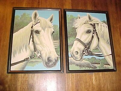 """Pair Of Vintage 12"""" X 9"""" Paint By Number White Horse Paintings"""