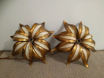 "Vintage Italian Tole Wall SCONCE ~ Water Lilies 11.5"" in diameter"
