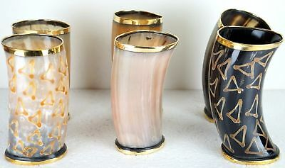 Set of 6 Ceremonial designer Drinking Horn cups mugs chalice for beer wine mead