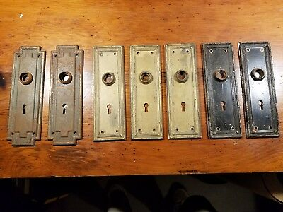 7 Vintage Metal Door Plates Escutcheons Key Holes Decroative Hardware