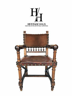 19th Century Renaissance Revival Leather Game of Thrones Style Armchair