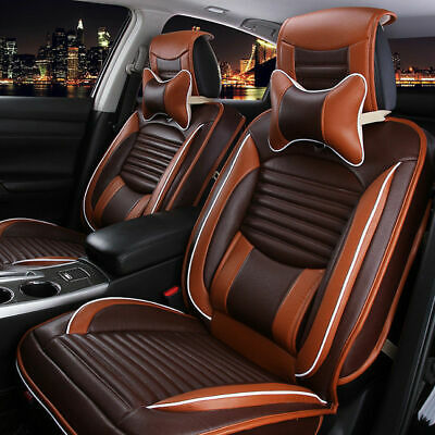 Deluxe 5 Seats Car PU Leather Comfort Mesh Seat Covers Front & Rear W/ Pillows