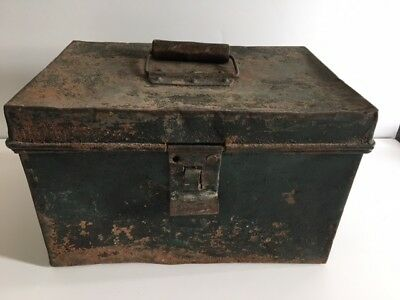 Vintage Green Distressed Box Shabby Old Metal Storage Chippy Paint Rust Antique