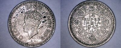 1943-B (Reverse) Indian 1/4 Rupee World Silver Coin - British India - George VI