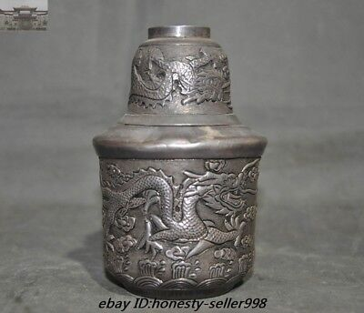 337g  Pure Silver Dragon Ancient Insulated Flask Rice Wine pot Flagon Cup Set