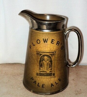 Antique Pottery Beer Pitcher FLOWERS PALE ALE The Associated Potteries Co Bar