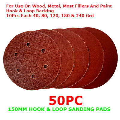 50 PC 150mm Hook & Loop SANDING SHEETS PADS DISCS Detail Orbital 40-240grit