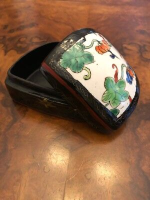 Chinese Hand Painted Porcelain Lid Wood Box