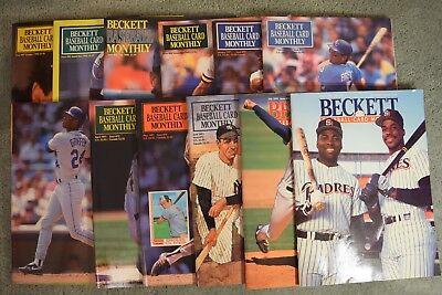 Lot of 12 Beckett Baseball Card Monthly Vintage Back Issues From 1990 & 1991
