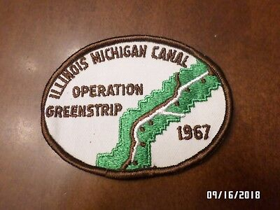 VINTAGE Boy Scout BSA Patch ILLINOIS MICHIGAN CANAL OPERATION GREENSTRIP 1967