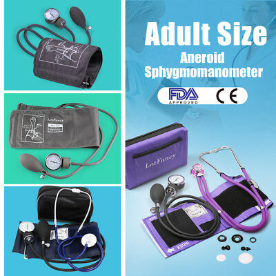 Aneroid Sphygmomanometer Stethoscope Manual Blood Pressure BP Cuff Gauge Machine