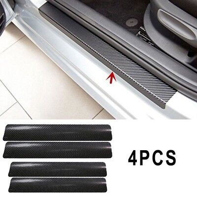 4Pc Black Car Door Plate Stickers Carbon Fiber Sill Scuff Cover Anti Scratch