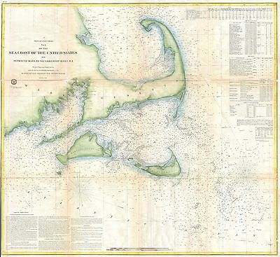 1857 Coastal Map Nautical Chart of Cape Cod Nantucket and Martha's Vineyard