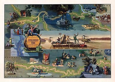 1959 PICTORIAL map  Adventures of Huckleberry Finn Mark Twain POSTER 8722