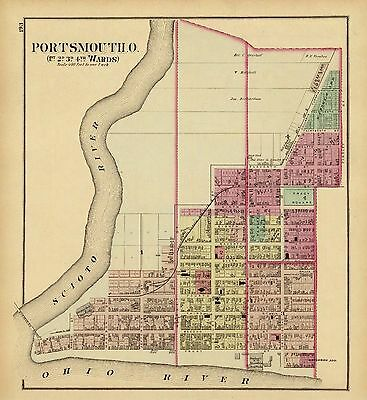 1877 Illustrated map Atlas Upper Ohio River Portsmouth 1st 2nd 3rd 4th ward 120