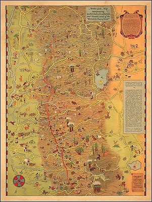 Mother Lode Tahoe Gold Country California Nevada 1931 pictorial map POSTER 50198