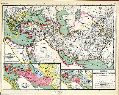 1903 old antique multiple maps of ANCIENT WORLD Macedonia Persia Empire Greece 2