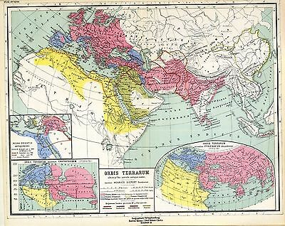 1903 old antique map of Eastern Hemisphere multible maps showing ANCIENT WORLD 1