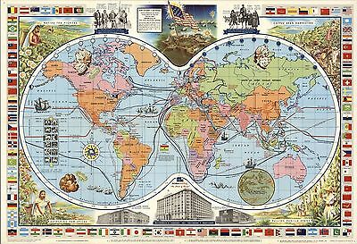 1957 pictorial map of the World flags McCormick's spices tea POSTER 8849003