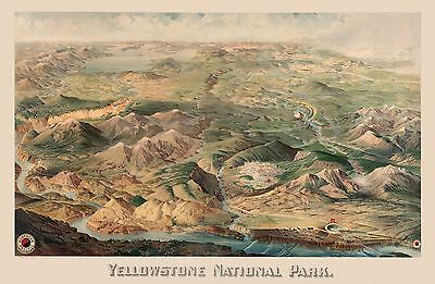 1904 pictorial map Yellowstone National Park basin cliffs mountain ranges 8245
