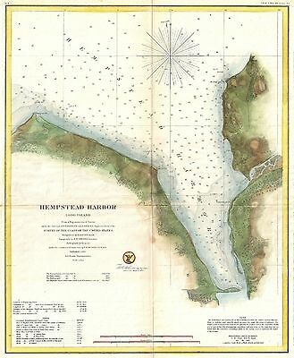 1859 Coastal Survey map Nautical Chart Hempstead Harbor Long Island New York