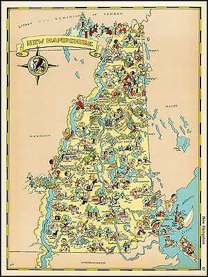 1935 pictorial New Hampshire map POSTER Ruth Taylor White 29179