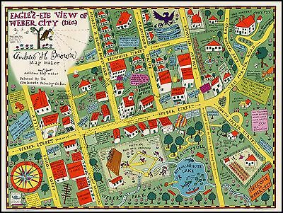Amos and Andy View of Weber City 1935 pictorial promotional map POSTER 31950