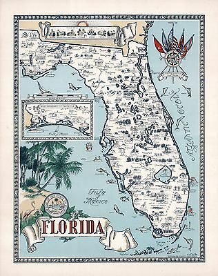 1953 FLORIDA pictorial map historic buildings places interest fish POSTER 8692