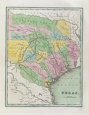 Old Map Of Texas.1838 Texas Republic Era Old Map Atlas Poster History State Bradford Statehood
